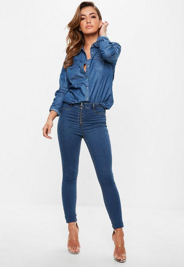 Blue Lawless High Waisted Ring Pull Jeggings by Missguided