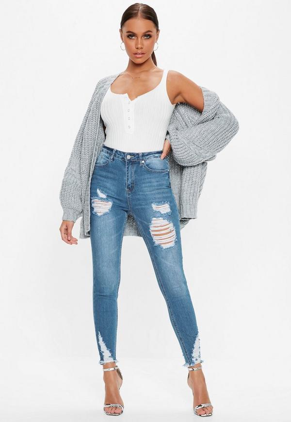 Blue Denim Sinner High Waisted Skinny Jeans | Missguided