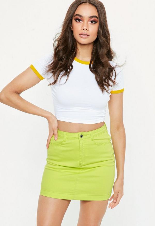 aa94a84f8b Shoptagr | Green Superstretch Denim Mini Skirt by Missguided