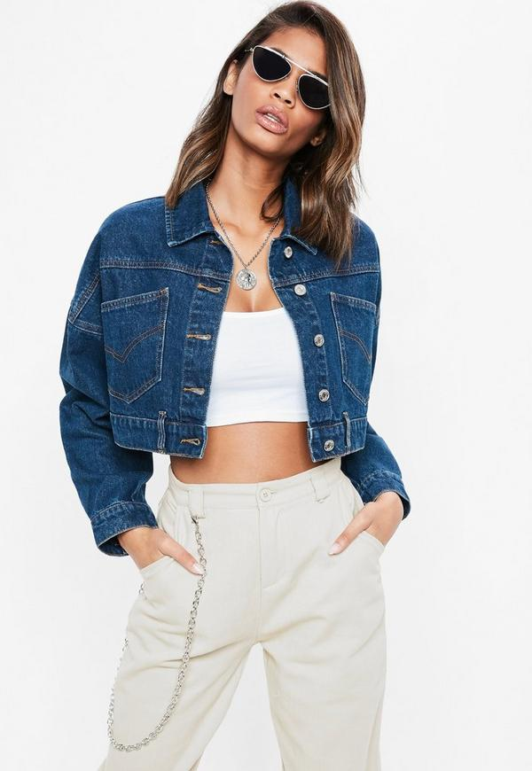 Blue Vintage Mid Wash Cropped Denim Jacket by Missguided
