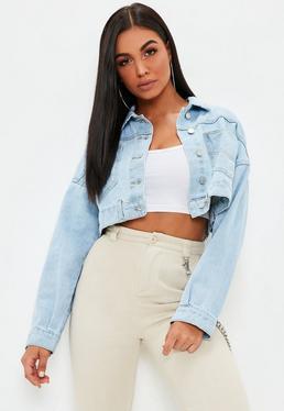 Veste en jean noir moumoute femme