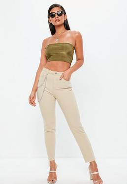 Sand Riot High Rise Chain Detail Mom Jeans