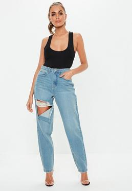 Blue Riot Stone Wash Ripped Thigh High Waisted Mom Rigid Jeans f32078f0d504