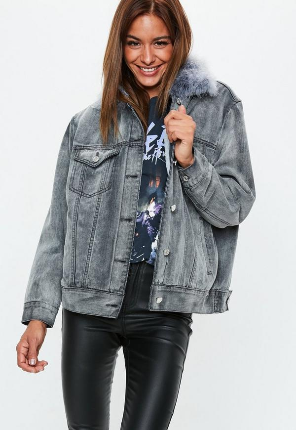 MissGuided veste en jean grise à col fourrure