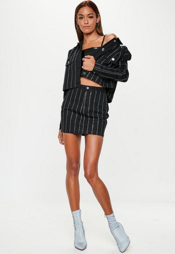 Black Embellished Denim Jacket Co-Ord | Missguided