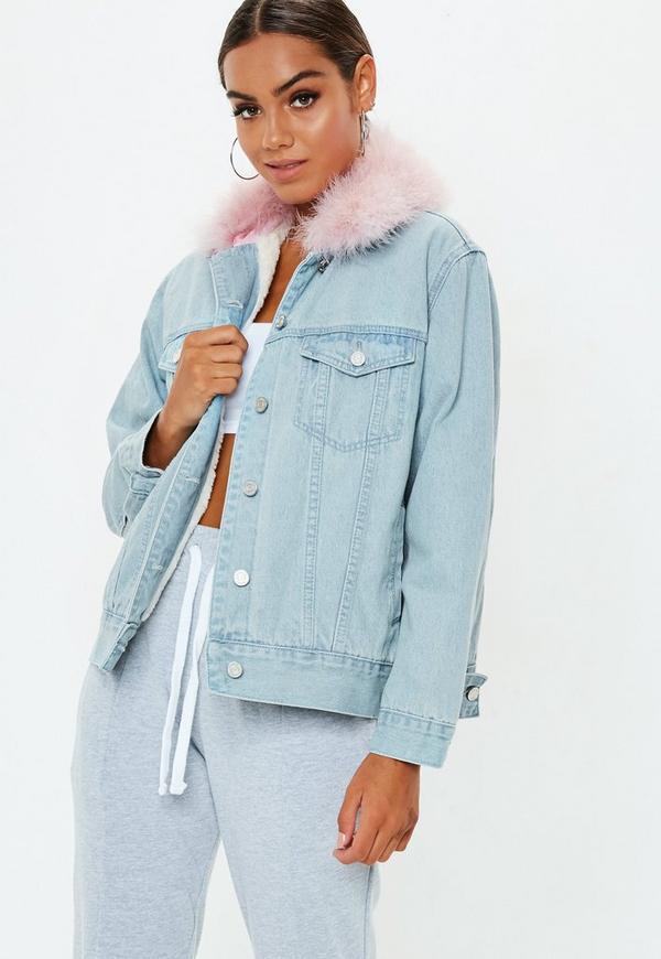cee9f79d4981 ... Blue Fur Lined Ostrich Collar Denim Jacket. Previous Next