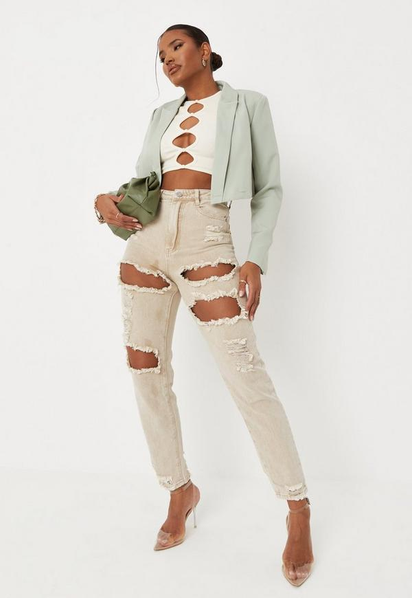 Sand Extreme Ripped Riot Mom Rigid Jeans by Missguided