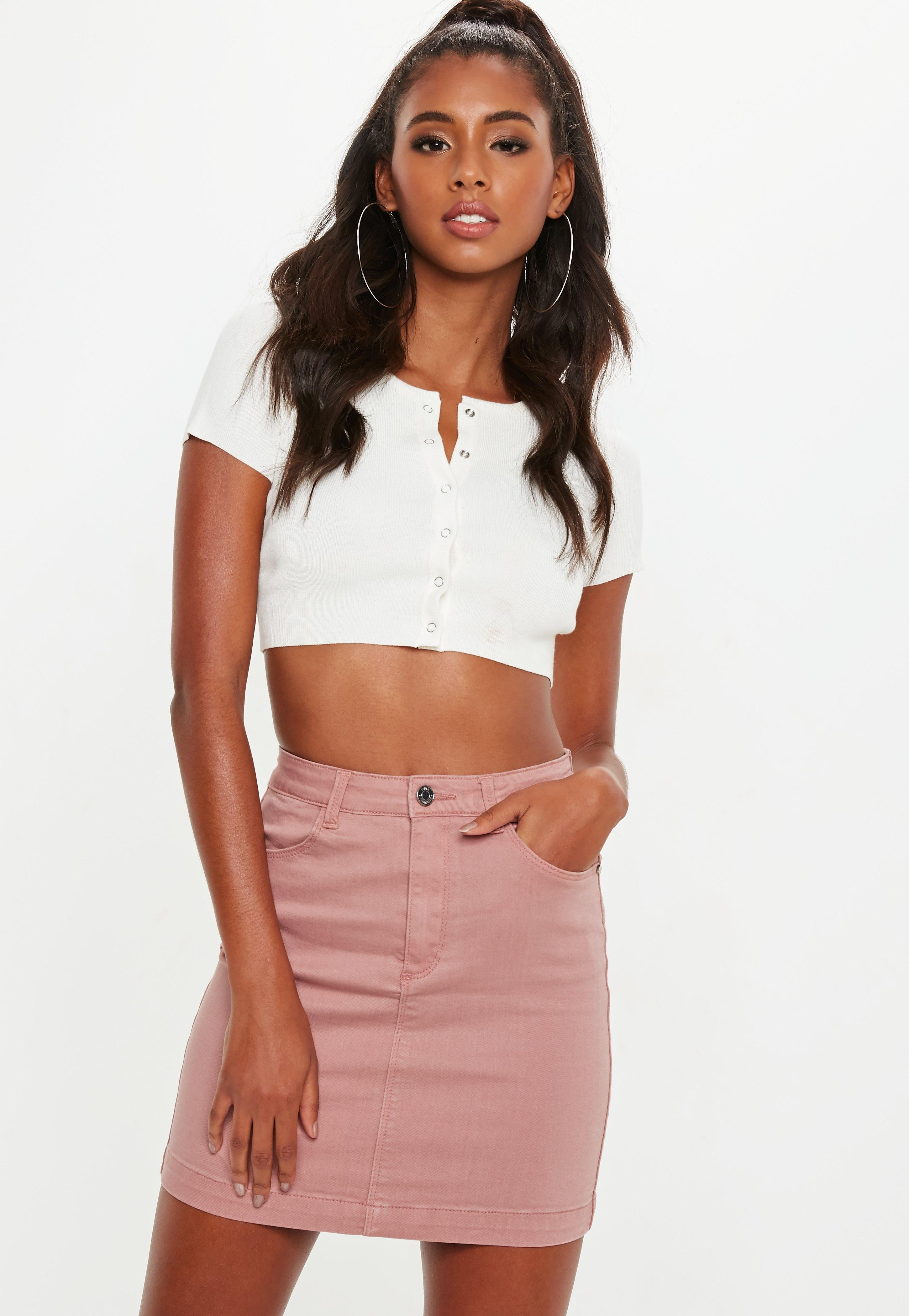 ed9bcaaa2cf Pink Superstretch Denim Mini Skirt