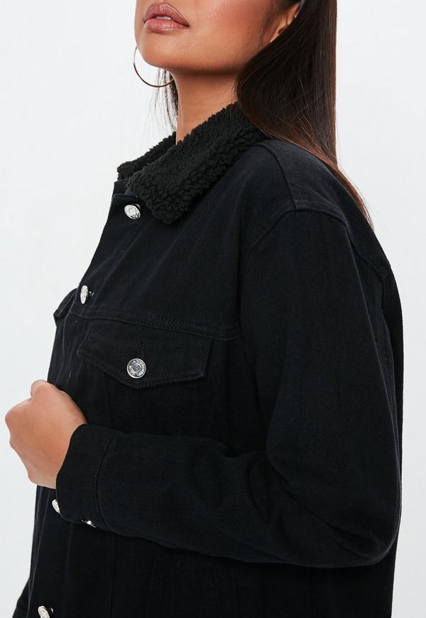 562ac00e913a Black Oversized Teddy Faux Fur Denim Jacket. Previous Next