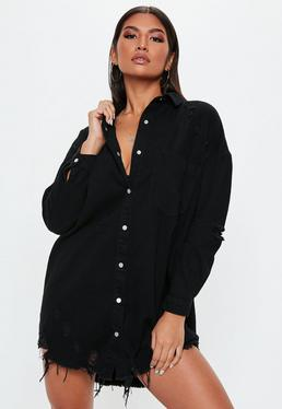 Black Distressed Hem Denim Shirt Dress