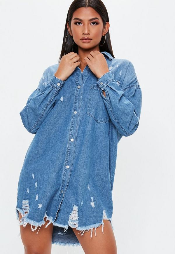 edced1b700 Blue Bleachwash Distressed Denim Shirt Dress