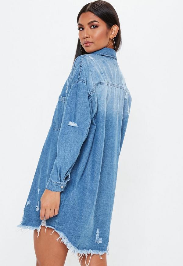 698d2754e3e ... Blue Bleachwash Distressed Denim Shirt Dress. Previous Next