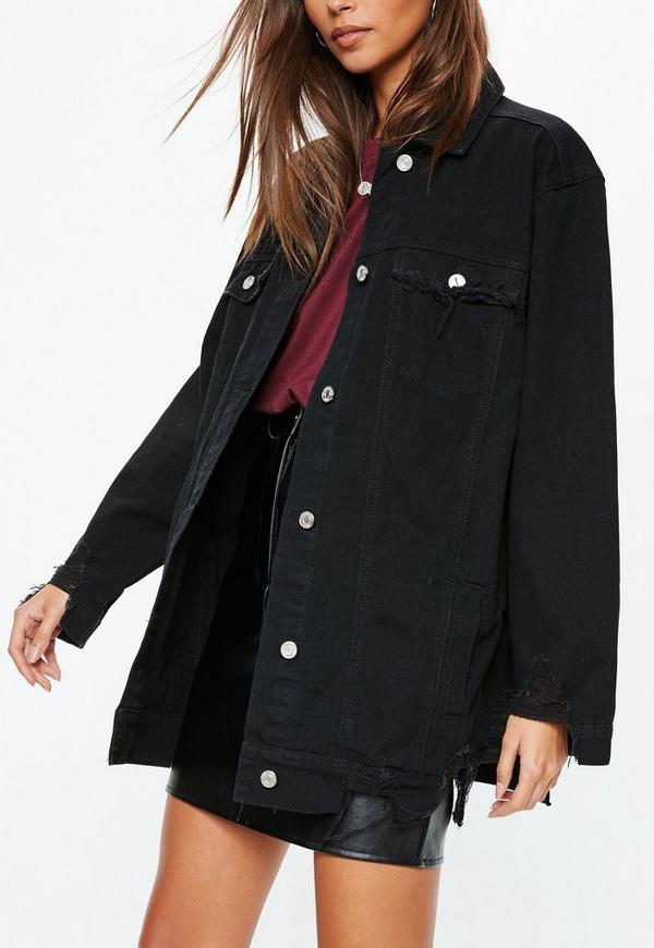 Black Oversized Longline Distressed Denim Jacket Missguided