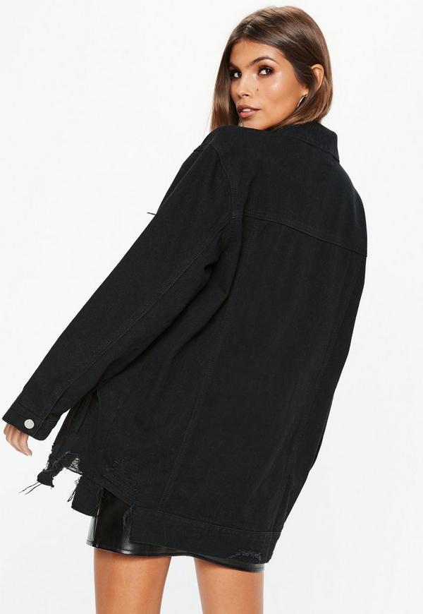 Räumungspreis genießen großer Rabatt neues Hoch Oversize-Jeansjacke mit Destroys in Schwarz