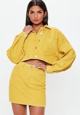 2d8e6d9700 ... Mustard Cropped Drop Shoulder Corduroy Jacket