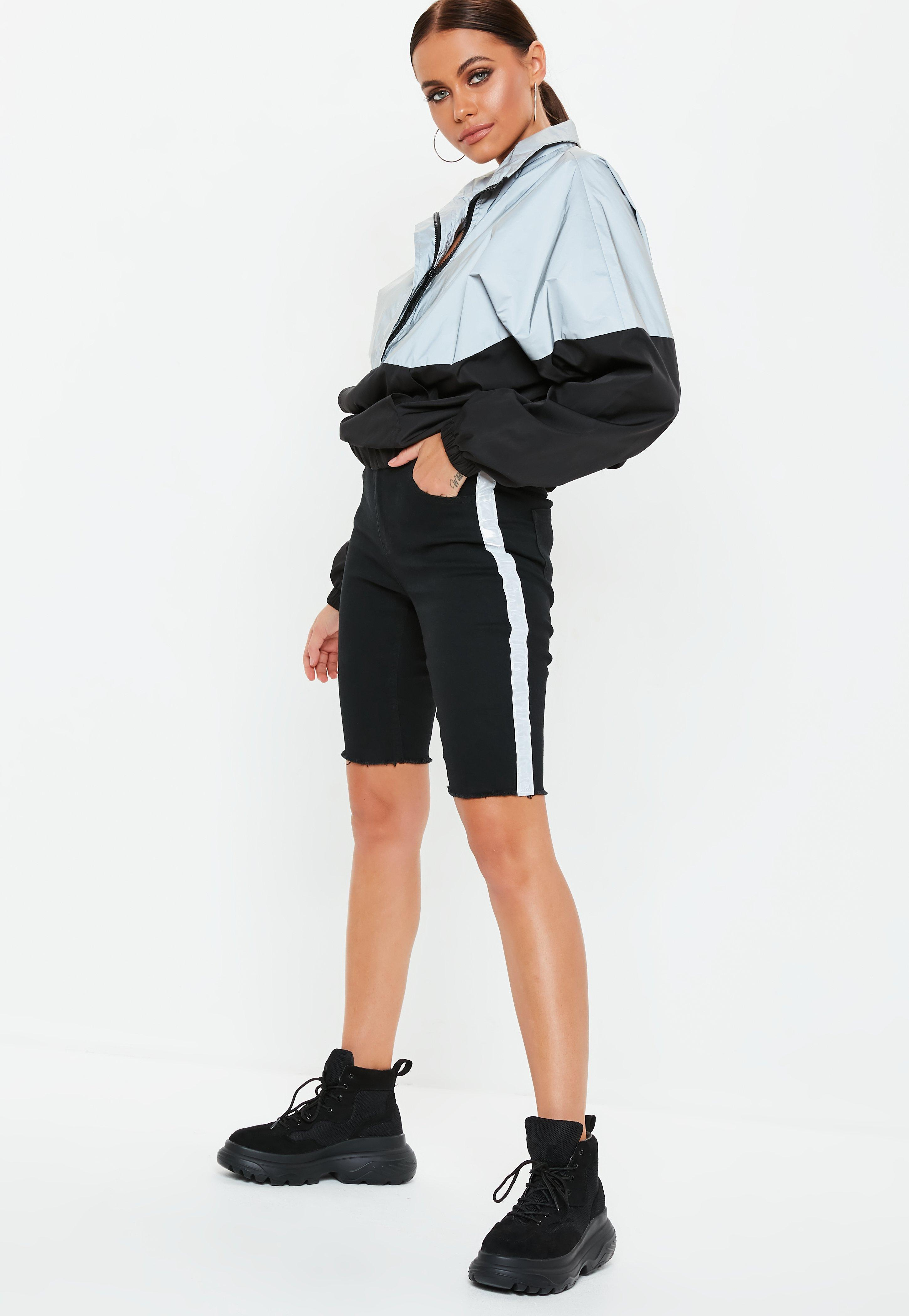 c8f858acdd Black Denim Reflective Cycling Shorts | Missguided