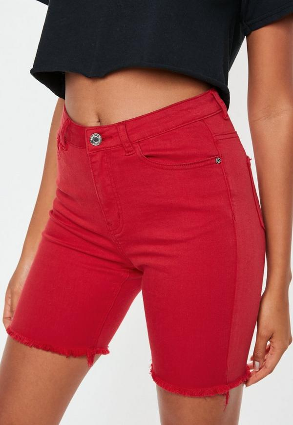 Red Denim Cycling Shorts Missguided