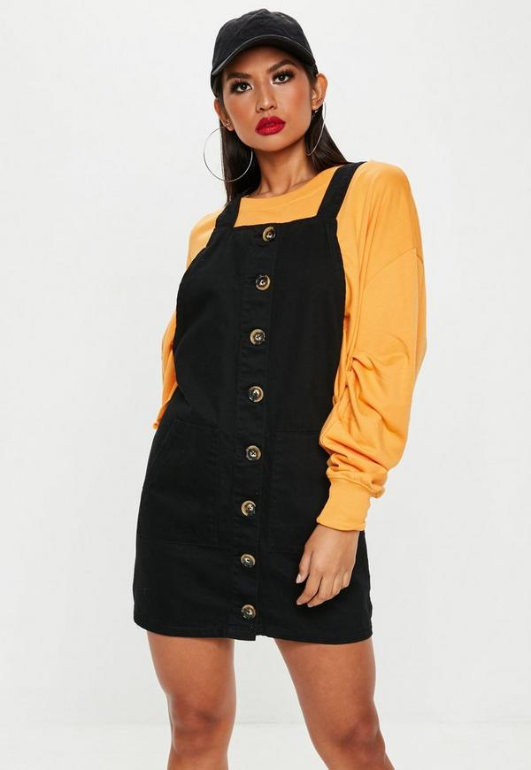 Black Horn Button Through Denim Pinafore Dress  0b703c3a4