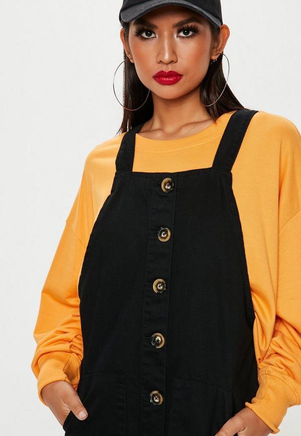 4affbf37f775d Black Horn Button Through Denim Pinafore Dress | Missguided Australia