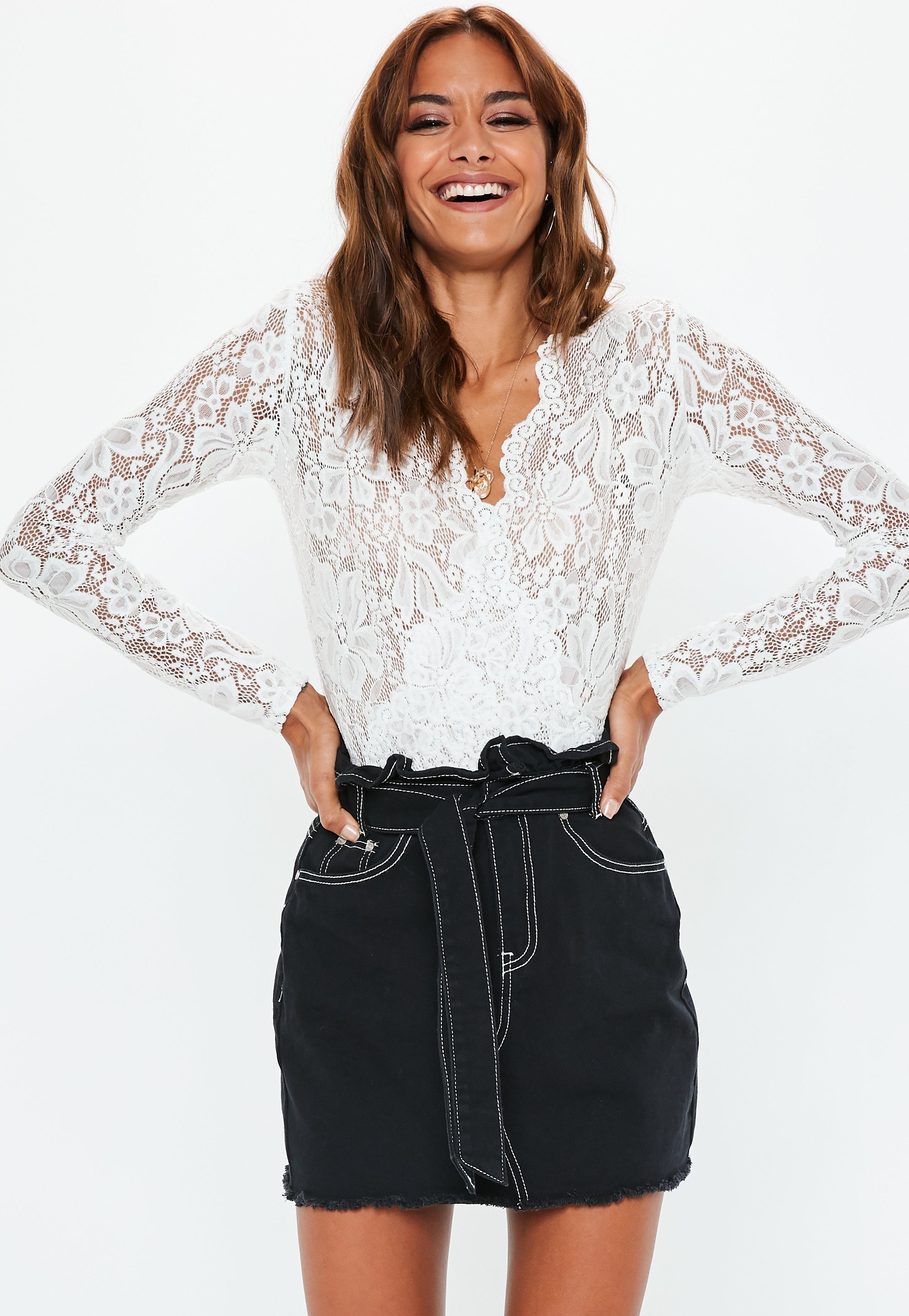c722d91431 Black Contrast Stitch Paperbag Waist Denim Skirt | Missguided