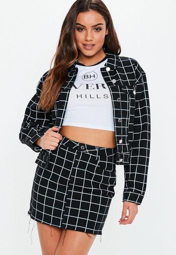 Black Co Ord Denim Grid Print Skirt Missguided Ireland