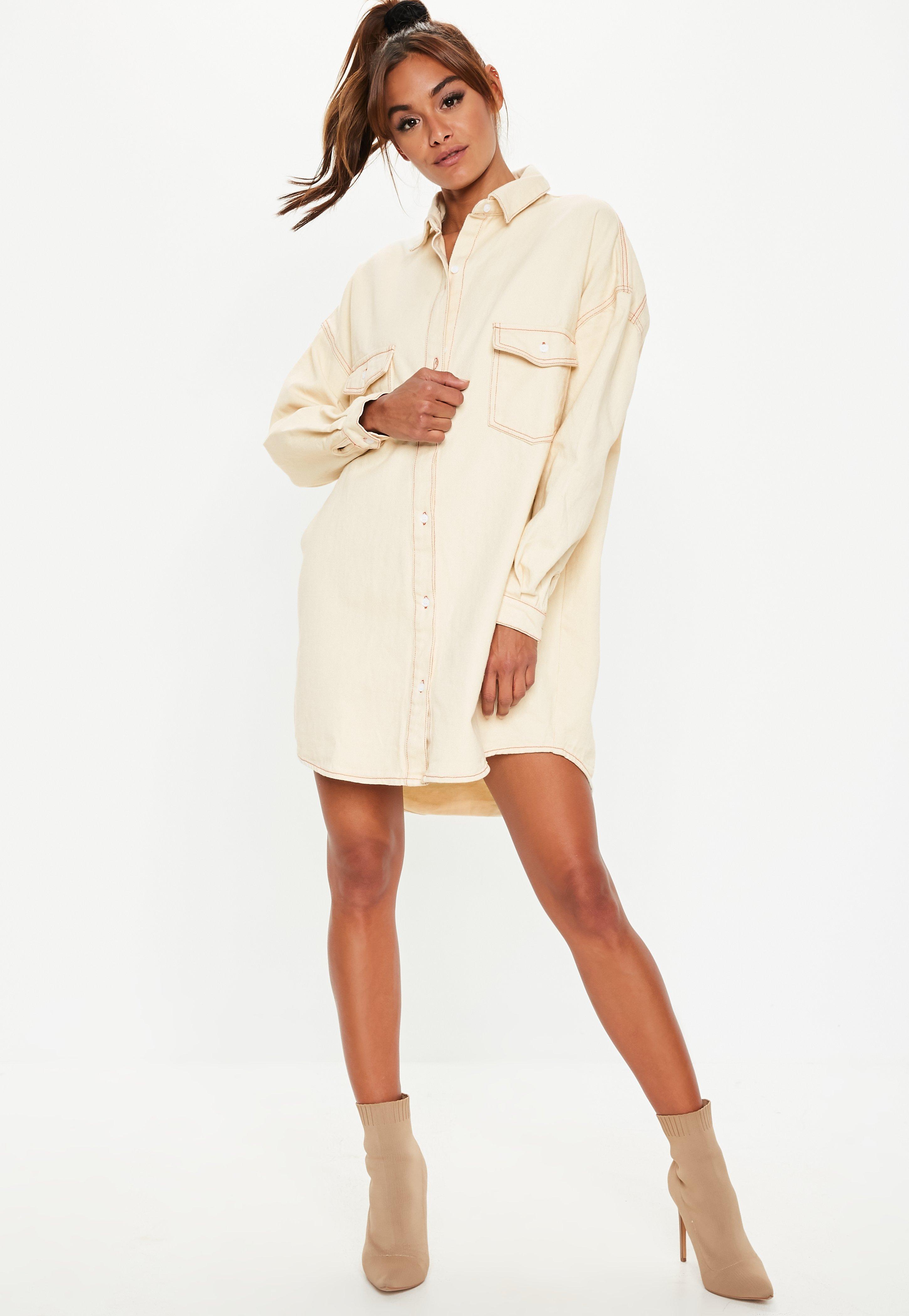 ce63c814c Robe-chemise crème en jean à coutures contrastantes