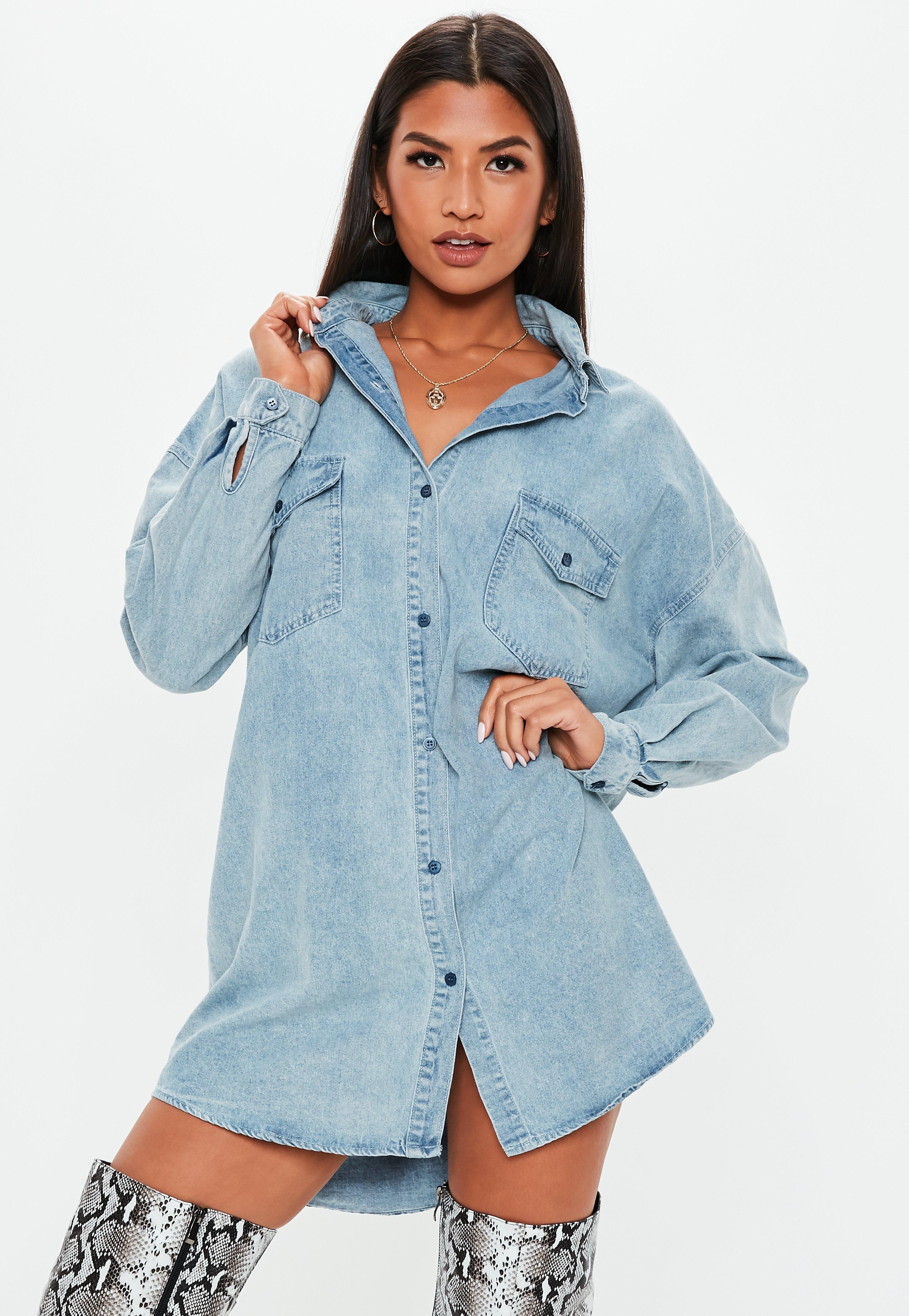 Denim Dresses Denim Shirt Dresses Missguided
