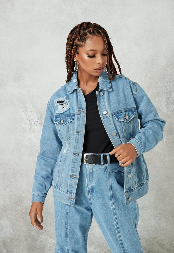 Blue Light Wash Oversized Boyfriend Denim Jacket Missguided