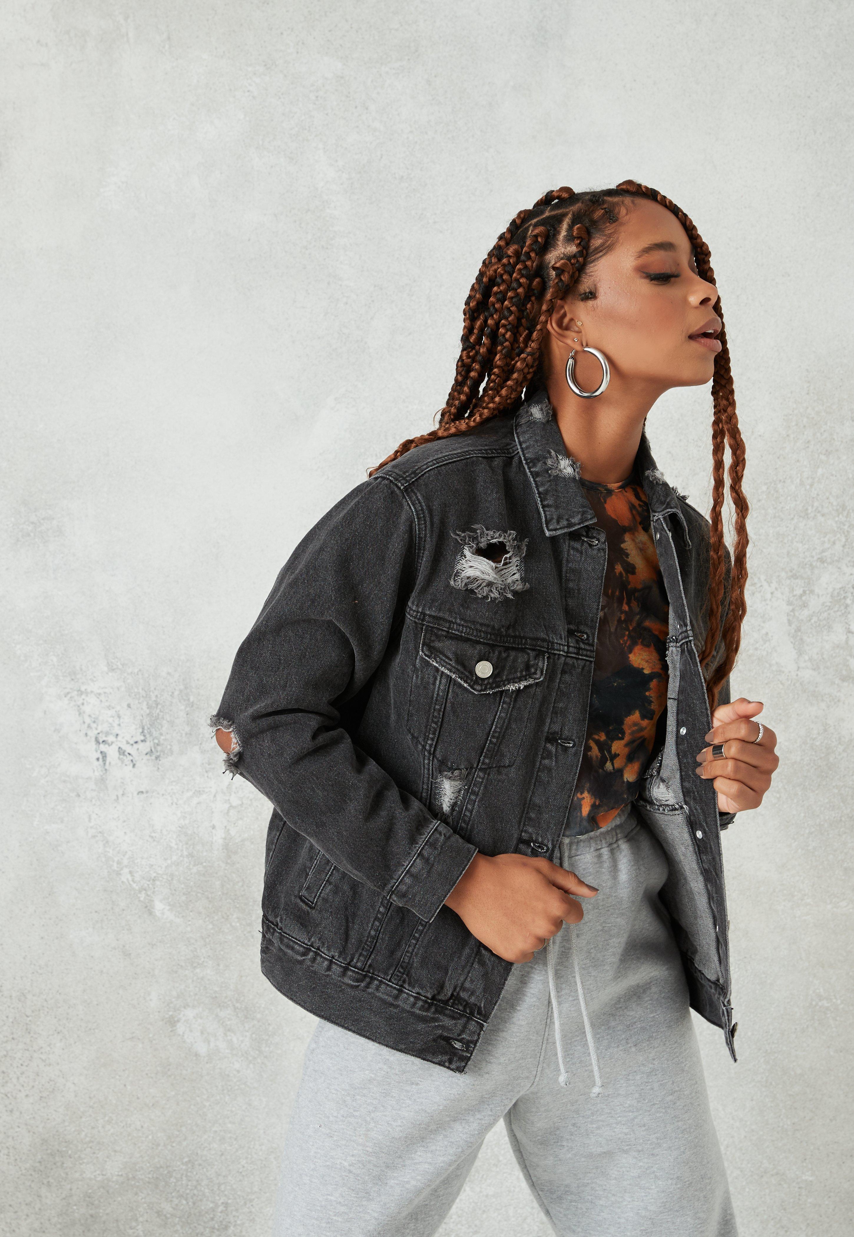veste en jean noir missguided