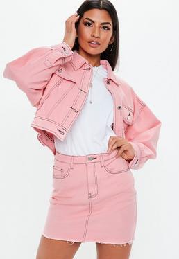 Blush Stripe Cropped Oversized Co ord Denim Jacket · Pink Denim Raw Hem  Contrast Stitch Co Ord Micro Mini Skirt 1645bd4cd539