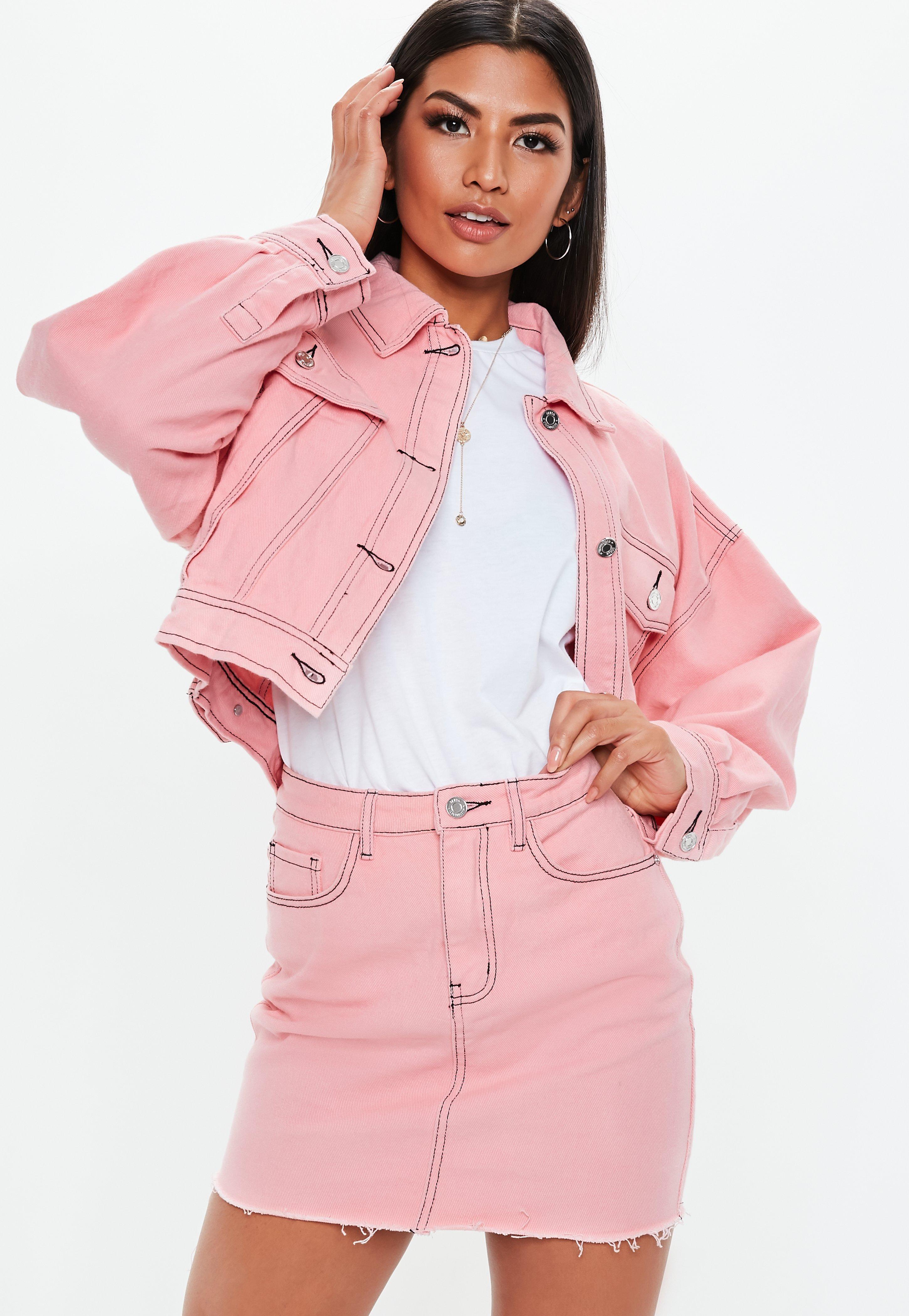 19538062ea3d Pink Denim Raw Hem Contrast Stitch Co Ord Mini Skirt | Missguided