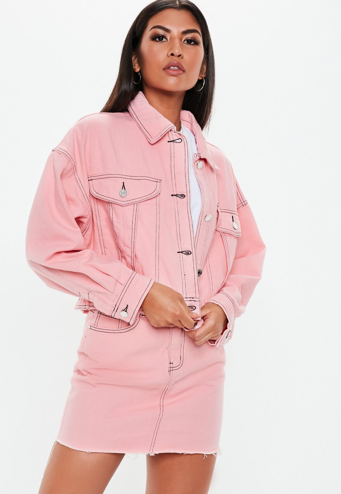 7d24c9d533dea Pink Denim Cropped Contrast Stitch Co Ord Jacket. Previous Next