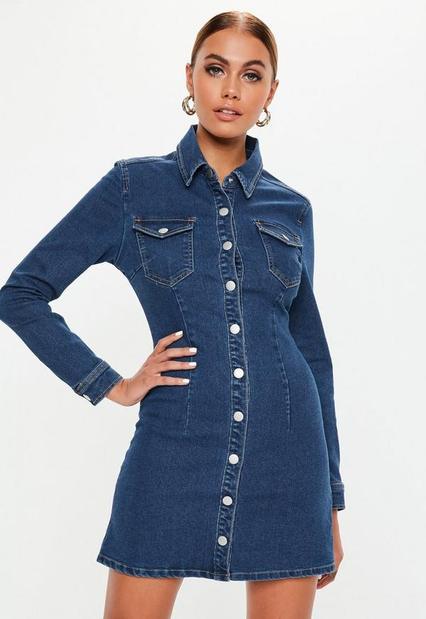 c59e6acad6f8 ... Blue Dark Wash Button Through Fitted Denim Dress. Previous Next