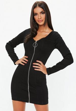 d52fa9ca3e899 Black Denim Zip Through Long Sleeve Fitted Mini Dress