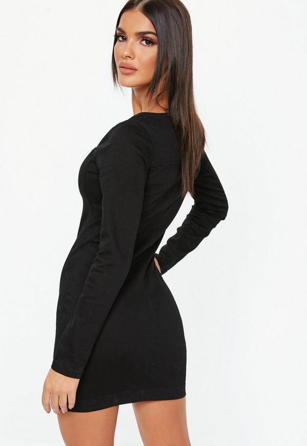 a6f3b75ae16 Black Denim Zip Through Long Sleeve Fitted Mini Dress. Previous Next