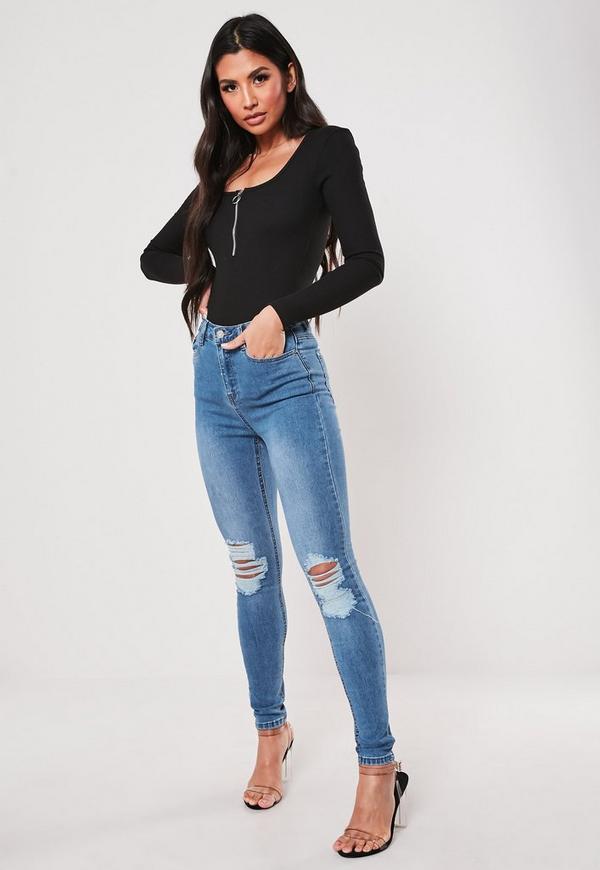 8966feddc4482 Blue Sinner Distress Knee High Waist Skinny Jeans. Previous Next