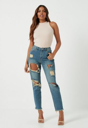Blue Vintage Wash Riot High Rise Ripped Mom Rigid Jeans
