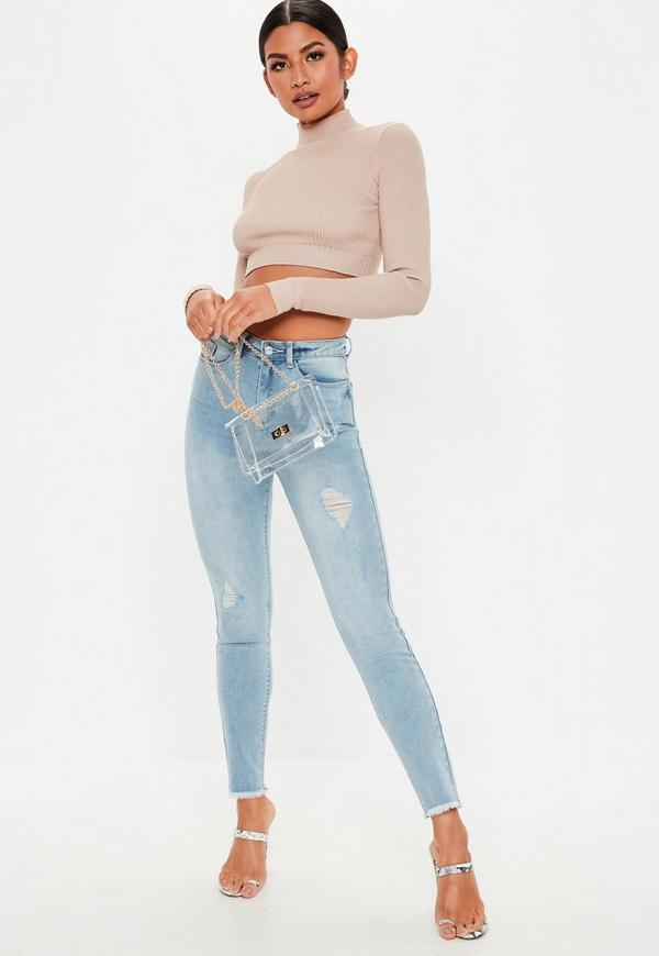 c4967e65b5e13 ... Light Blue Denim Sinner Authentic Distressed Skinny Jeans. Previous Next