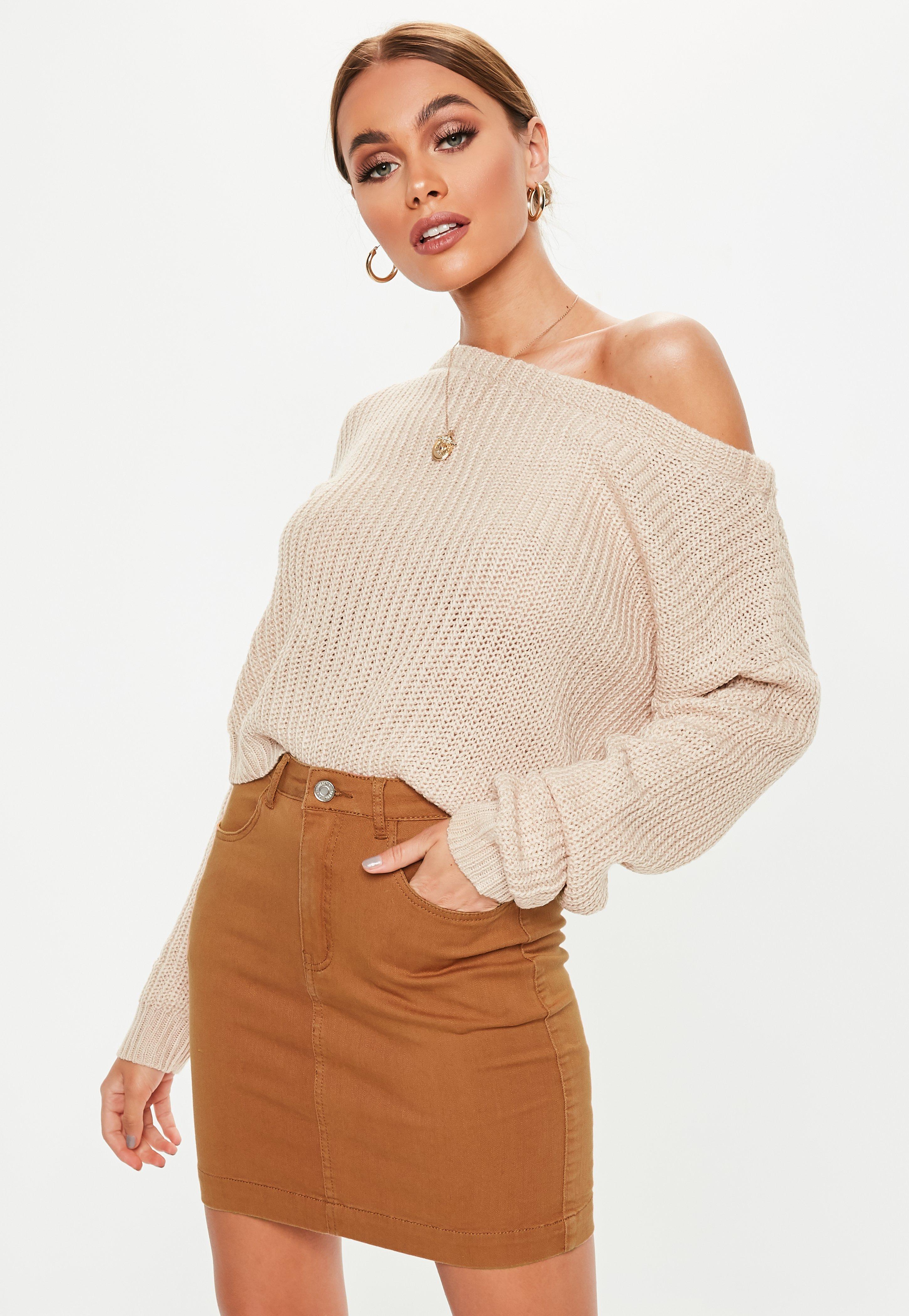 bba6484176 Rust Denim Stretch Mini Skirt | Missguided Australia