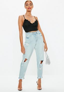 d3a52a1b3b Blue Light Wash Denim Riot Mom Rigid Jeans