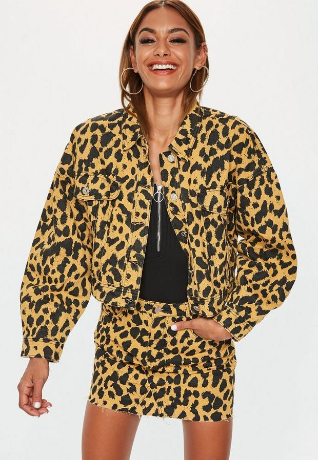 Jaune moutarde moutarde en denim imprimé léopard