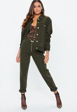 Khaki Riot Double Popper Mom Jeans Co-Ord