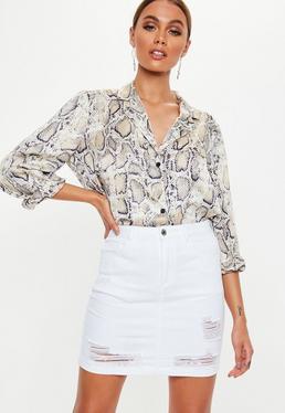e56ca5e697 Denim Skirts   White & Black Denim Skirt   Missguided