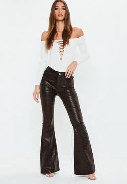 bc446e73f8a3d Black Cropped Kickflare Jeans · Brown Snakeprint High Rise Flare Jeans