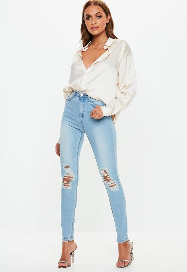 c4c233c2ff4 ... Light Blue Sinner Distressed Knee High Waisted Skinny Jeans. Previous  Next