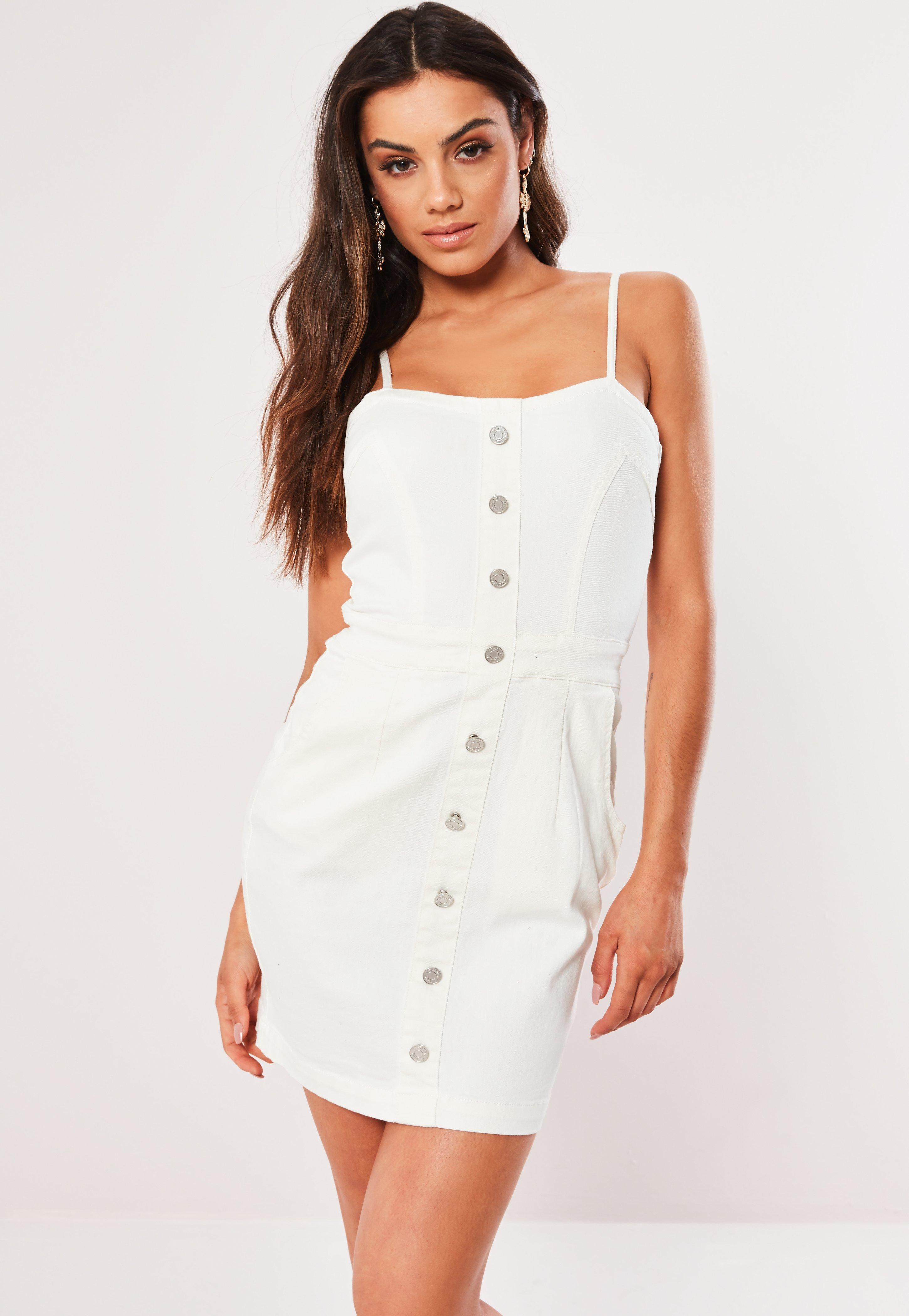 9a551b2edf White Button Detail Denim Mini Dress