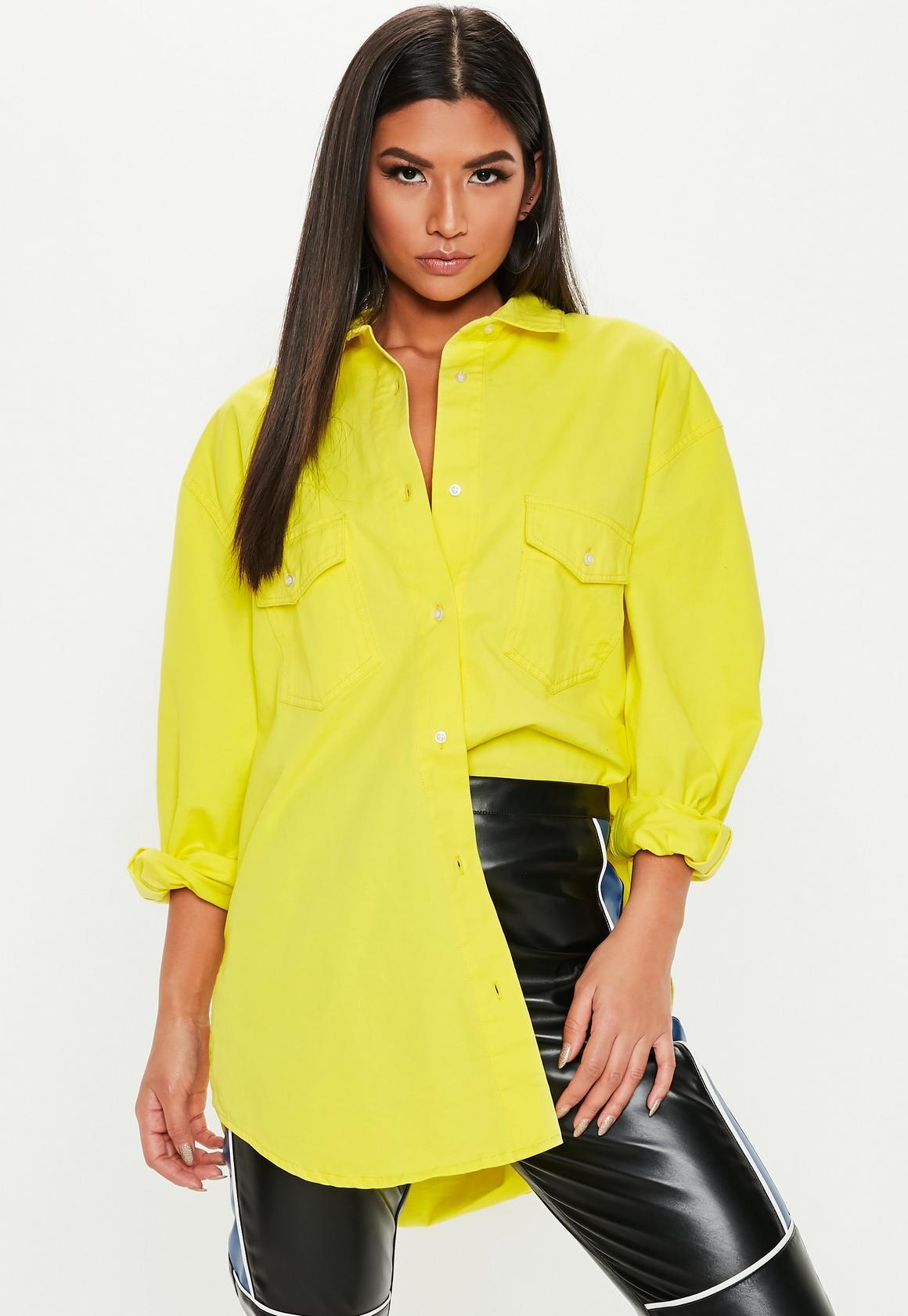 5f54fb015a Neon Yellow Oversized Denim Shirt