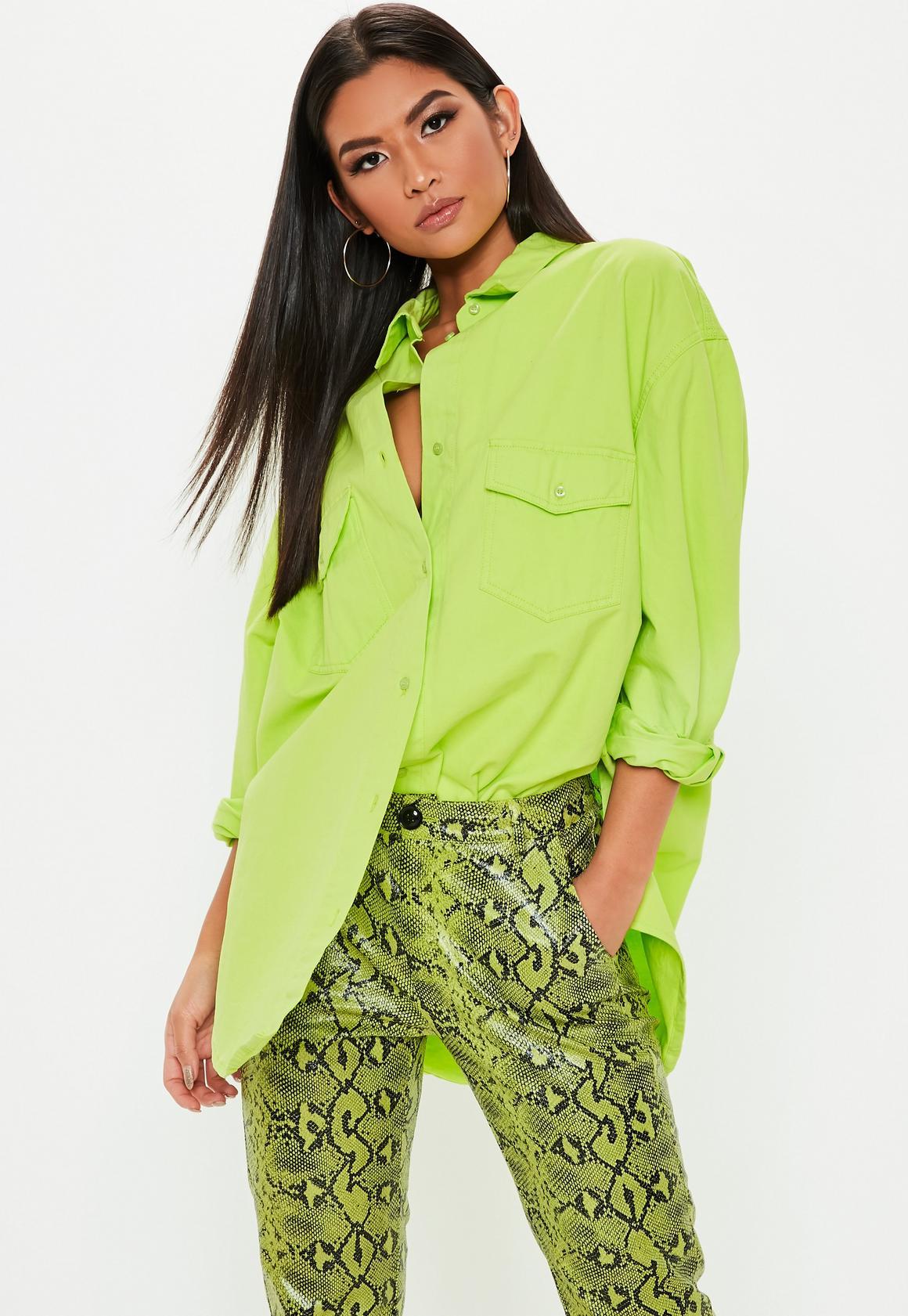 bf58042755 Neon Green Oversized Denim Shirt