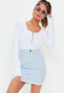 dcd3723202f6 ... Blue Pastel Stretch Denim Mini Skirt
