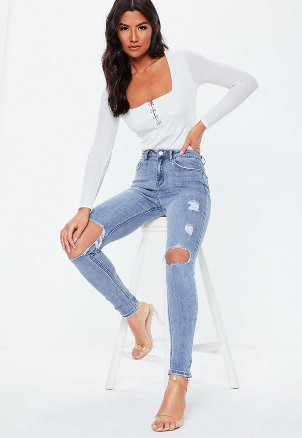 ccbf503eb6d ... Blue Sinner Ripped Knee High Waist Skinny Jeans. Previous Next